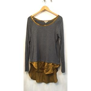Anthropologie Bordeaux gray long sleeve, gold trim
